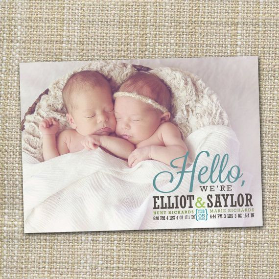 twins photo birth announcement hello by westwillow on Etsy – Birth Announcement for Twins