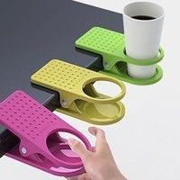 Wish   1pc Plastic Home Office Desk Cup Clip Holder color random