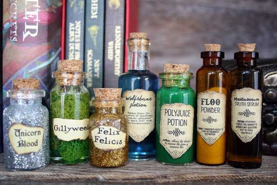 Potion bottles with labels of potions from Harry Potter
