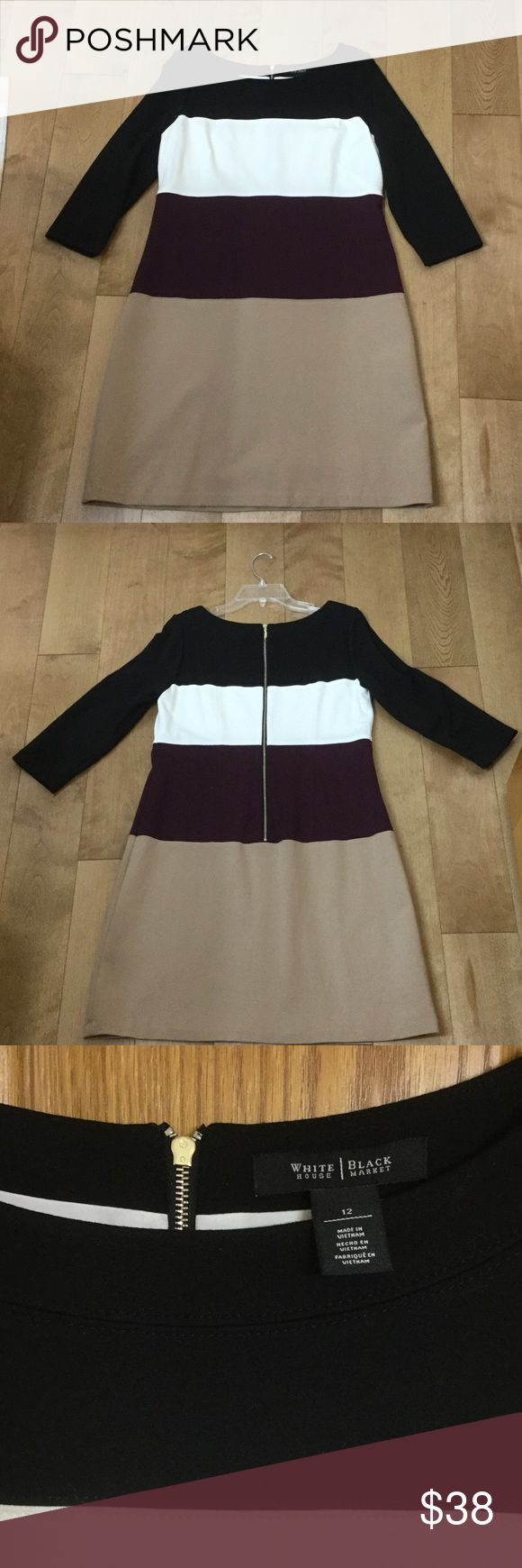 White House Black Market dress WHBM color block shift dress dress.  Black, ivory, plum, and camel.  3/4 length sleeve, dress falls Just above knee. Size 12. Fully lined, very comfortable. In great condition! White House Black Market Dresses