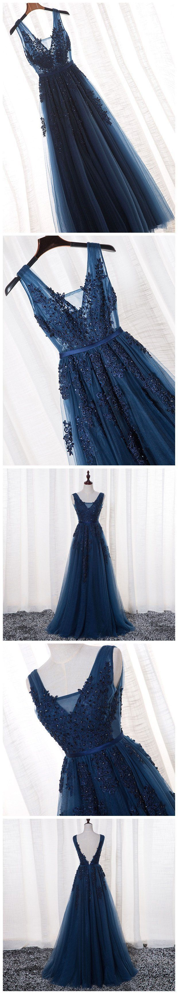 v-neck a-line long prom dress tulle applique beaded evening dressHS146 #fashio
