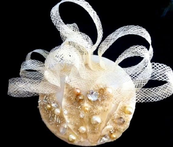 dark ivory silk hat with crystals and pearls www.abirdinthehair.com