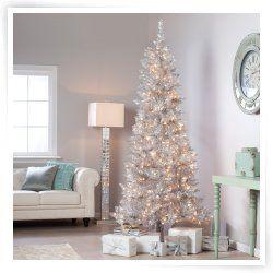 Silver Tiffany Tinsel Pre Lit Christmas Tree Christmas