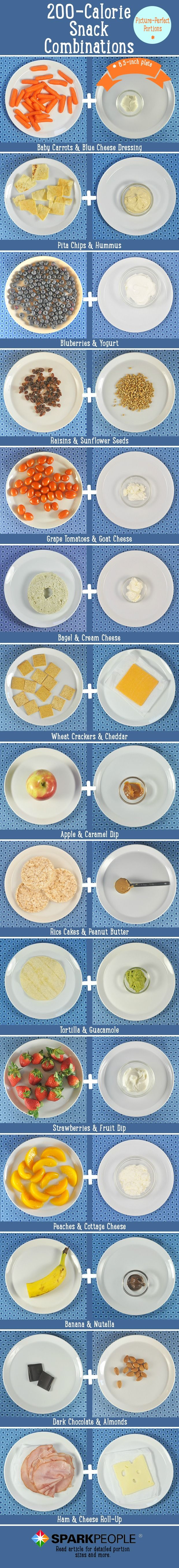 What does a 200-calorie #snack really look like? Awesome visual that shows different 200-cal snack combos