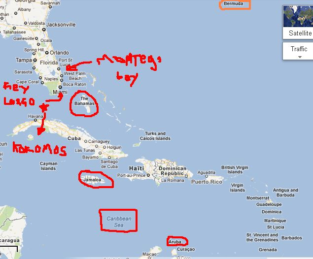 "The islands etc. mentioned in the Beach Boys song ""Kokomo"". Montserrat and Martinique are not marked."