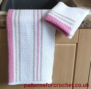 Free crochet pattern dishcloth and tea towel usa