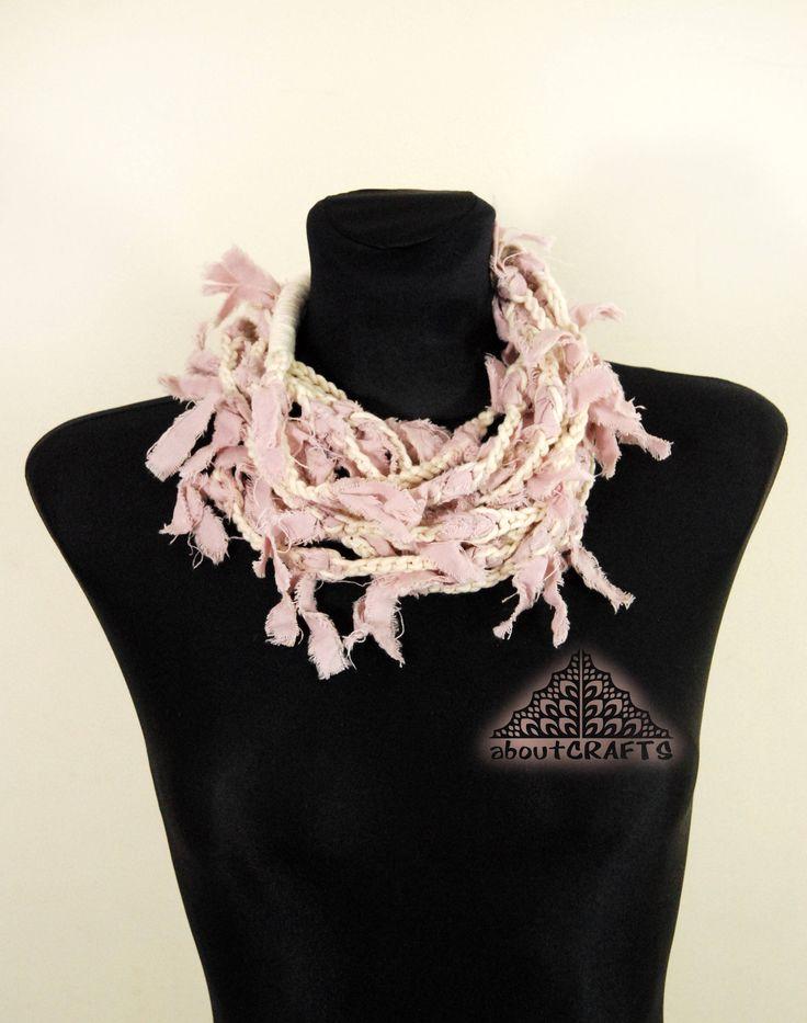 Infinity necklace, Bohemian necklace, Spring necklace, Fiber art, Eco friendly, Cheap boho jewelry, Pink choker collar, Bib necklace, Scarf by aboutCRAFTS on Etsy