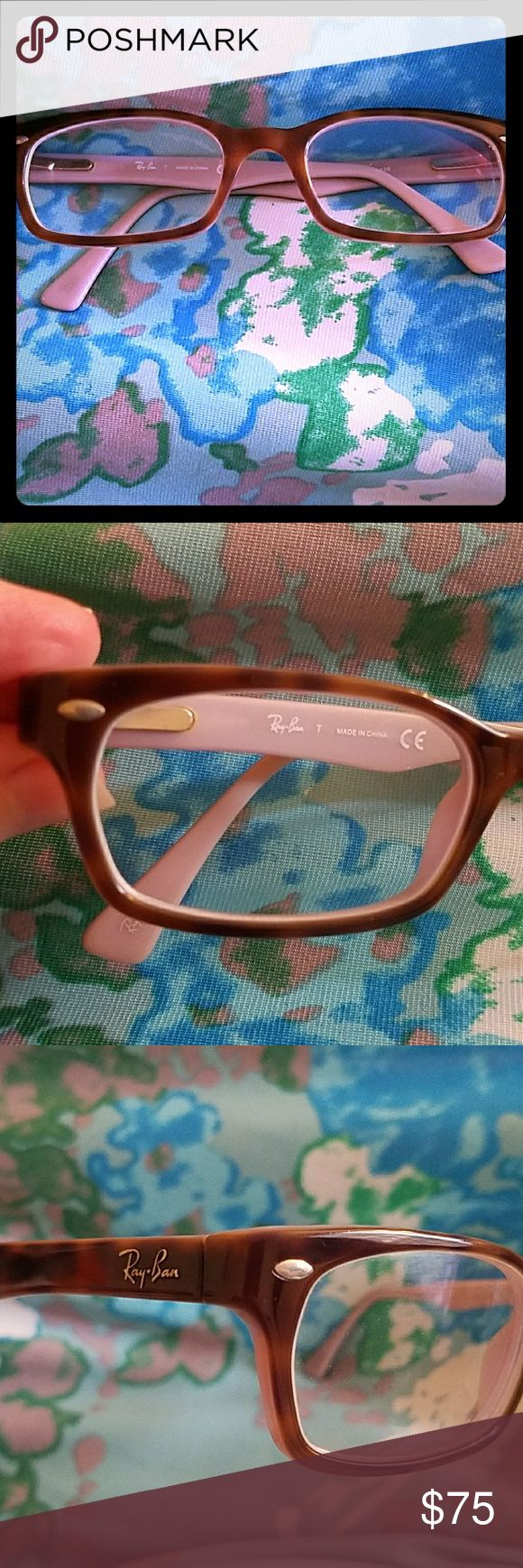 EUC Ray-Ban Prescription Glasses Frames These do have lenses in them so you'd need to insert your own. I got lots of compliments on these. Make me an offer! Tortoise outside, lilac inside. Ray-Ban Accessories Glasses
