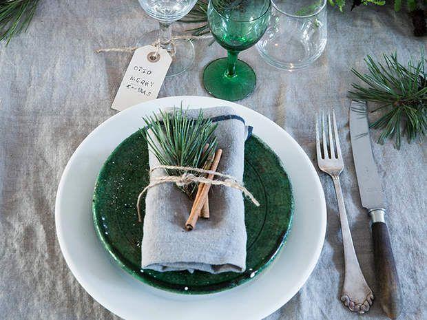 Présentation de serviette pour un Noël végétal, Présentation de serviette pour un Noël végétal