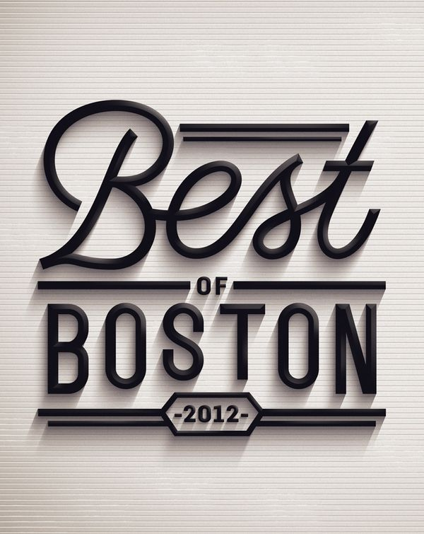 Best of Boston 2012 by Jordan Metcalf, via Behance: Covers Book, Design Inspiration, 3D Character, Fonts Styles, Jordans Metcalfe, Graphics Design, Street Signs, Book Covers, Boston 2012