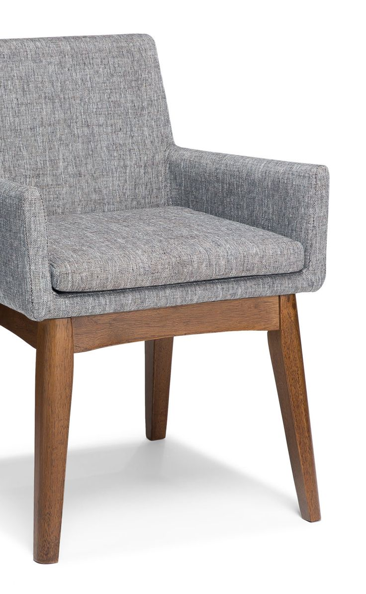 Comfortable arm chairs - 2 X Gray Dining Armchair In Walnut Wood Finish Article Chanel Modern Furniture