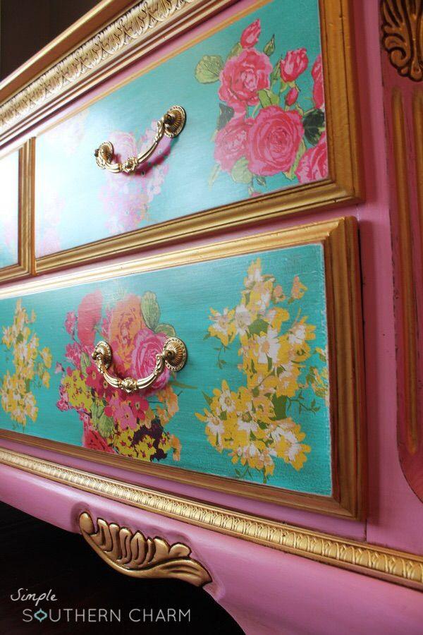 Pink Dressers For Girls Bedroom Set: 268 Best Decoupage Furniture Images On Pinterest