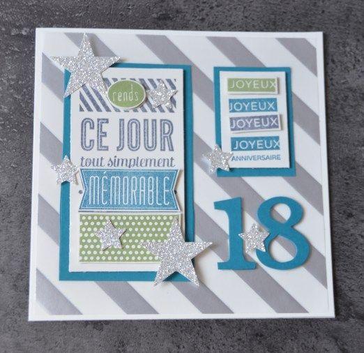 Carte anniversaire 18 ans par Marie Meyer Stampin up - http://ateliers-scrapbooking.fr/