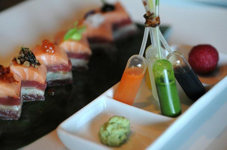 Morimoto sashimi. Seared toro, salmon, eel, tuna, hamachi. (Napa, CA)
