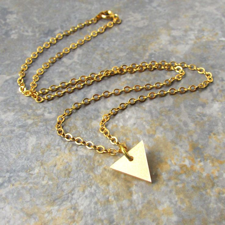 Delicate gold chain with pendant triangle - perfect gift, supplied gift boxed