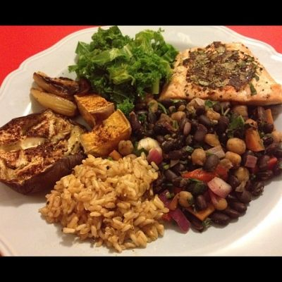 Ripped Recipes - Salmon With Eggplant, Bean Salad, Rice and Kale - This is a fully featured meal, guaranteed to fill you up.