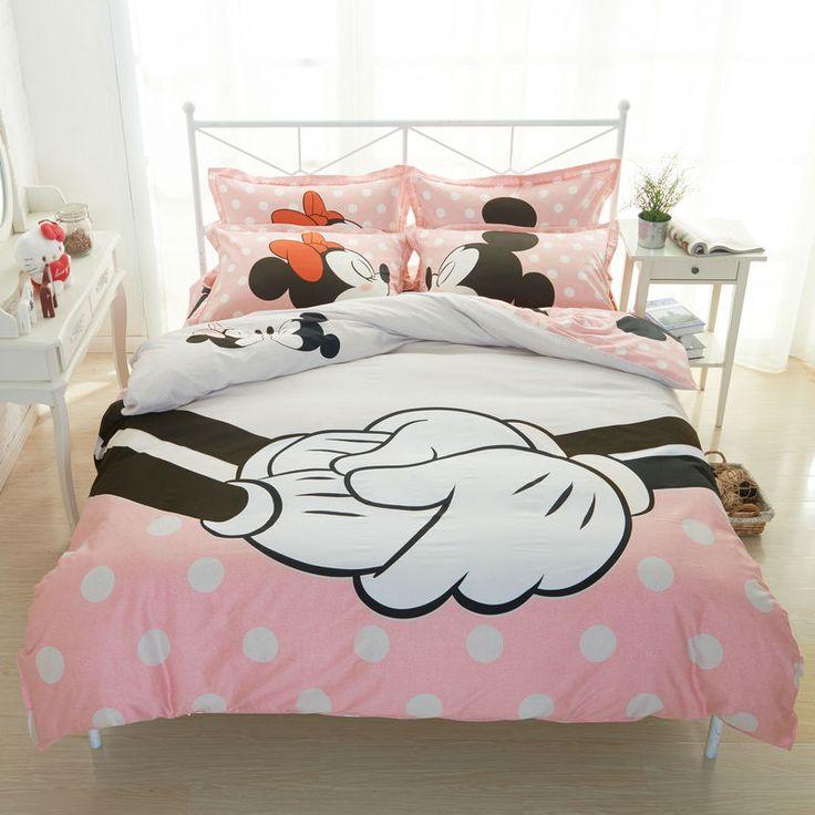 Barato Amante Mickey jogo de cama para cama de casal 100% lençóis de Algodão conjuntos capa de edredão minnie mouse impressão,…