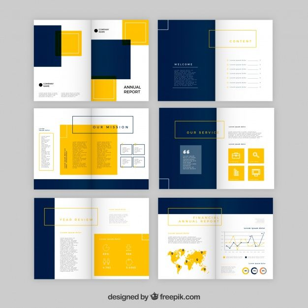 Annual report design in flat type Free Vector