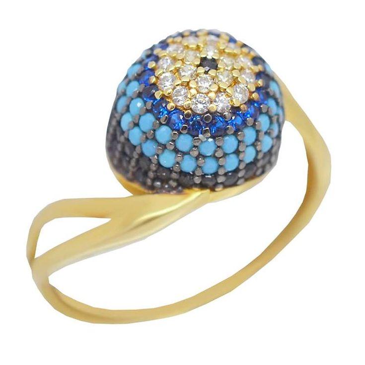 ΕΔ43P- Χρυσό δαχτυλίδι με πολύχρωμες πέτρες
