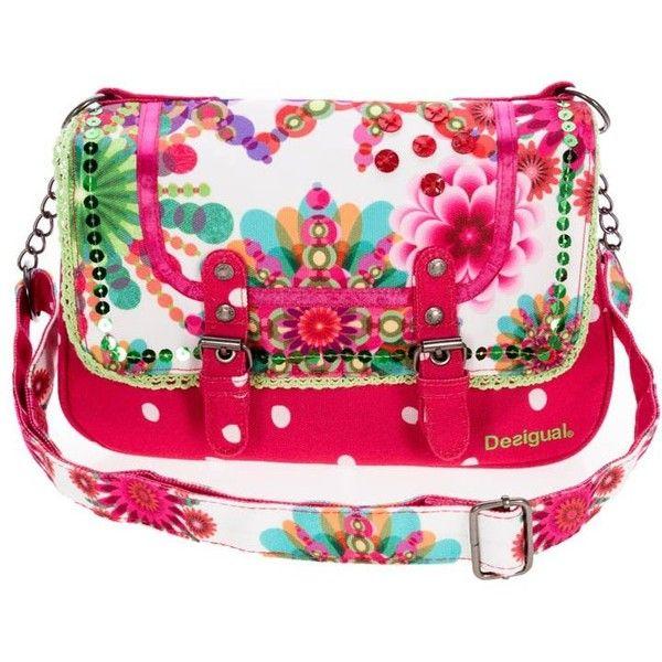 Desigual MONCAY Across body bag featuring polyvore women's fashion bags handbags shoulder bags pink desigual magnetic purse desigual handbags pink shoulder bag pink crossbody
