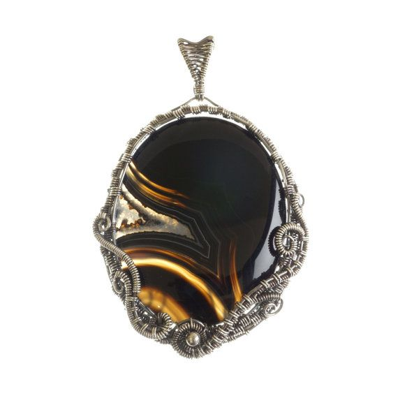 Black Agate/Onyx sterling silver 925 pendant by AstroArtDesign