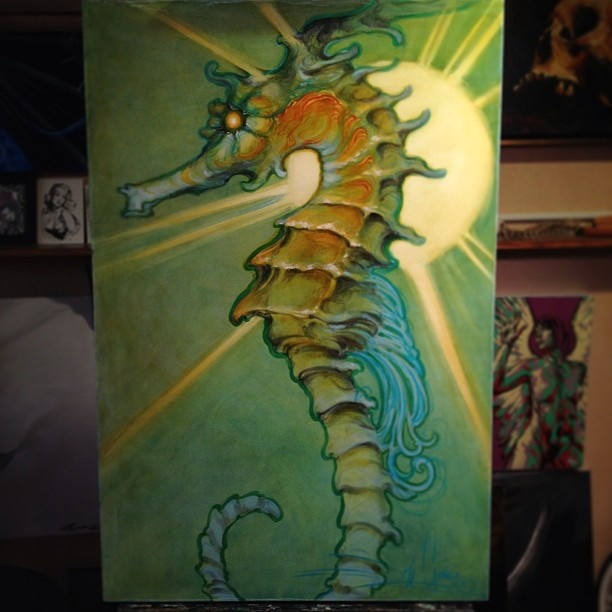 Nouveau Sea Horse by Jeff Gogue. More at Jeff Gogue Art Facebook page: https://www.facebook.com/pages/Jeff-gogue-art/112639418796840?group_id=0