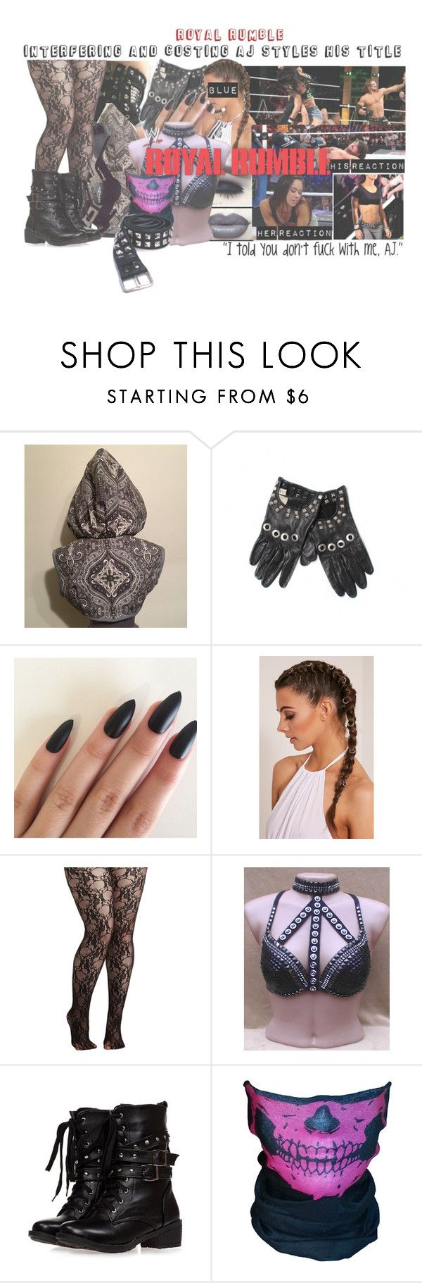 """""""Royal Rumble: World Domination Interferes and Costs AJ Styles His Universal Title"""" by sage-forever ❤ liked on Polyvore featuring Levi's, Versace, Harley-Davidson and WWE"""