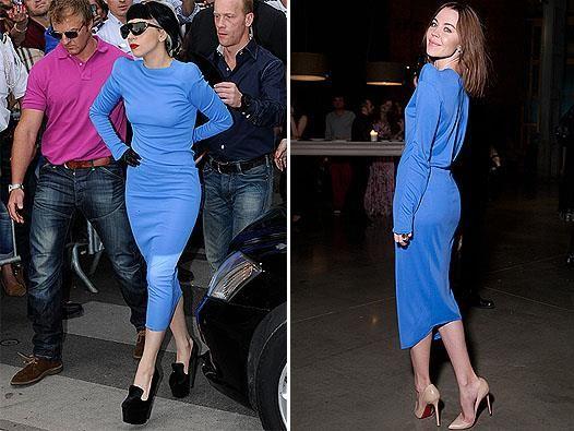 Леди гага в синем платье от модельера