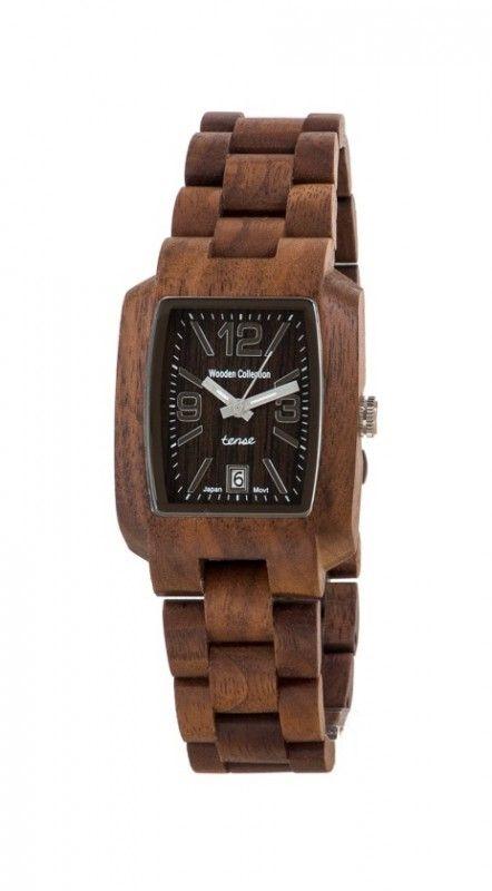 Men's wooden watch Color: walnut Case: barrel-shaped (52x35mm) Case height: 12mm Functions: calendar (day) Bracelet: president style, 21mm (adjust ...