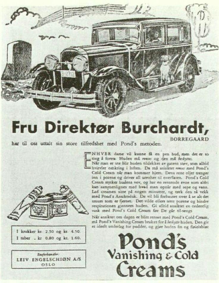 Reklame for Pond's Vanishing & Cold Creams - Anbefalt av fru Direktør Burchardt, Borregaard