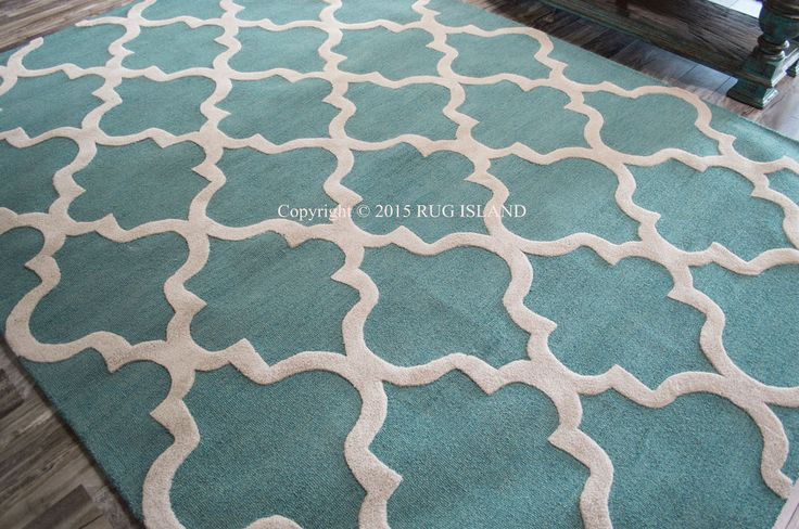 5x8 Designer Modern Contemporary Aqua Blue Gray Thick Plush Wool Area Rug #Modern - $600, ebay - too pale a color?