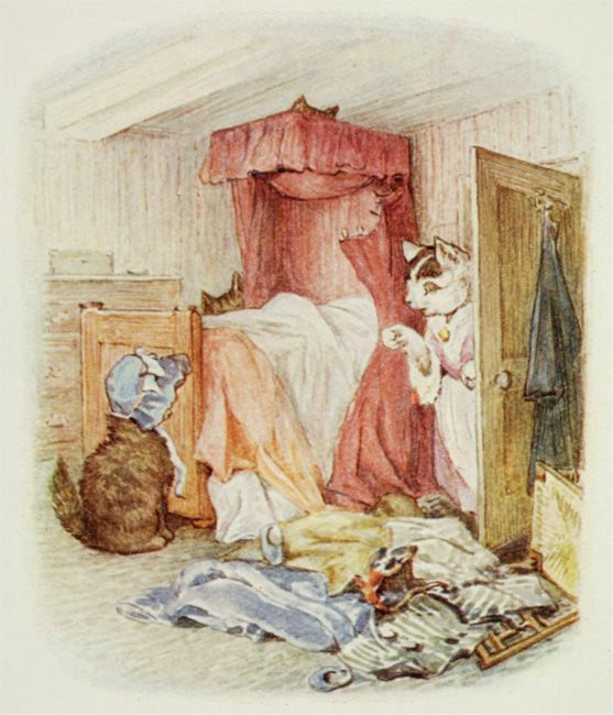 "Beatrix Potter | illustration from The Tale of Tom Kitten --- ""Somehow there were very extraordinary noises over-head, which disturbed the dignity and repose of the tea party."""