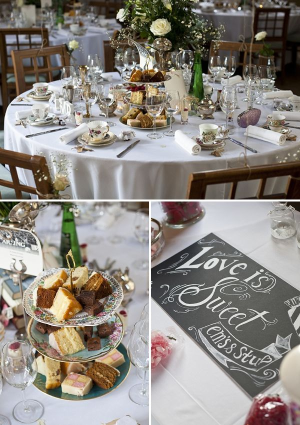 Afternoon tea themed wedding with tiered servers on the table. A Romantic & Classic Floral Wedding ~ UK Wedding Blog ~ Whimsical Wonderland Weddings