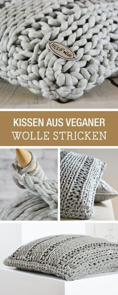 Strickanleitung: Kuschelige Kissen stricken aus veganer Wolle / diy knitting tutorial for cozy cushions, vegan wool via DaWanda.com