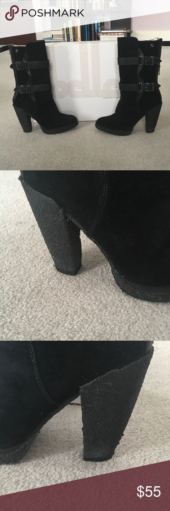 Supercool Belle by Sigerson Morrison Suede Boots Size 10, very comfortable.  Definitely worn, but still in good shape.  Hate to let them go but  need to make room in my closet! Belle by Sigerson Morrison Shoes Ankle Boots & Booties