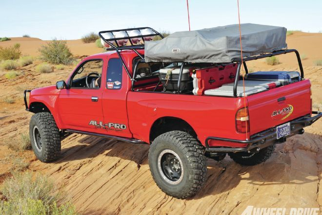 All-Pro Off Road's armor and Pack Rat modular rack system protects and outfits the Baja Taco.