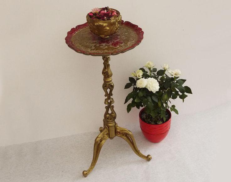 Rare Guéridon Florentin Rond, Pied Orné Baroque et Coupe Intégrée . Unique Florentine Carved Tripod Base Side Table in resin, Pedestal Bowl de la boutique LaMachineaBrocantes sur Etsy