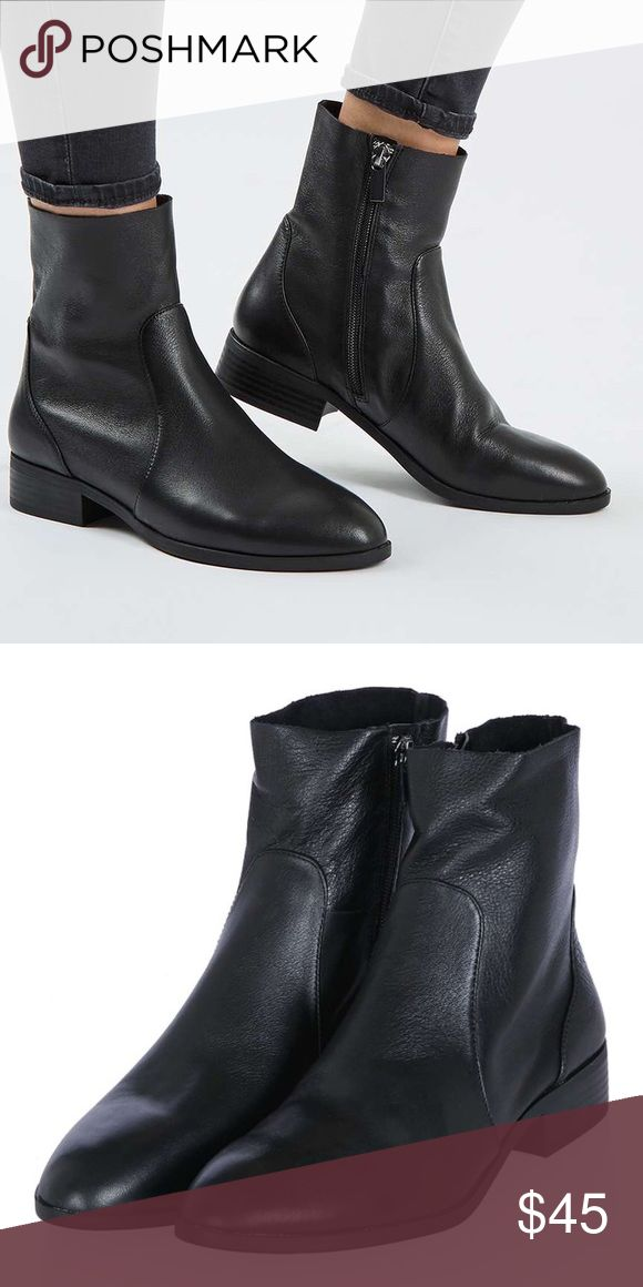 Klash leather sock boots No flaws. Size 7/12 - 8. Worn only twice. Real leather . No trades !! Topshop Shoes Ankle Boots & Booties