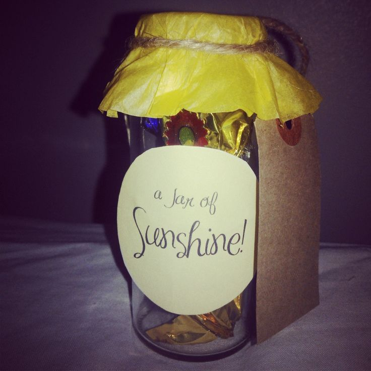 Mini Jar of Sunshine - little jar filled with treats  that are tied with inspirational, positive quotes. Perfect to make someone special smile