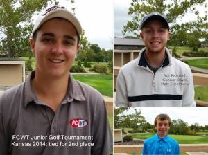 FCWT junior golf tournament at the University of Kansas,  tied for 2nd place