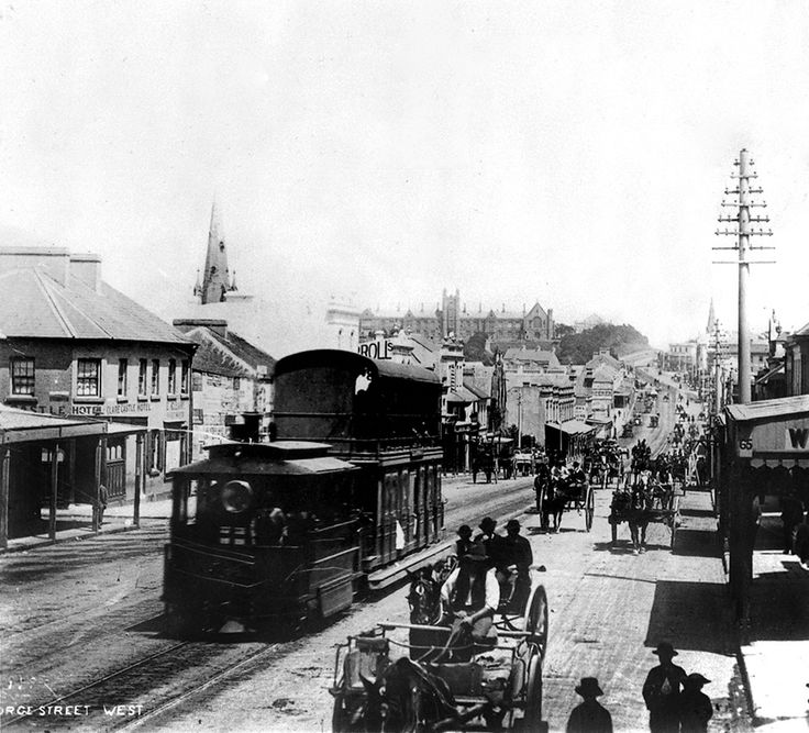 Steam tram travelling along Broadway into the CBD of Sydney (year unknown).A♥W