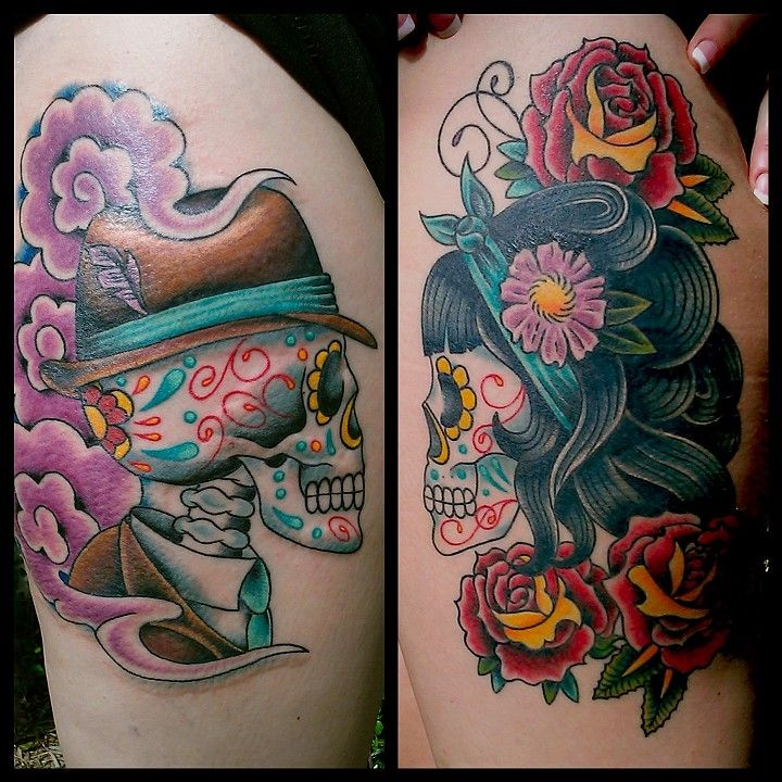 Male/Female Sugar Skulls by Bill Smiles at Integrity Alliance Tattoo in Asheville, NC