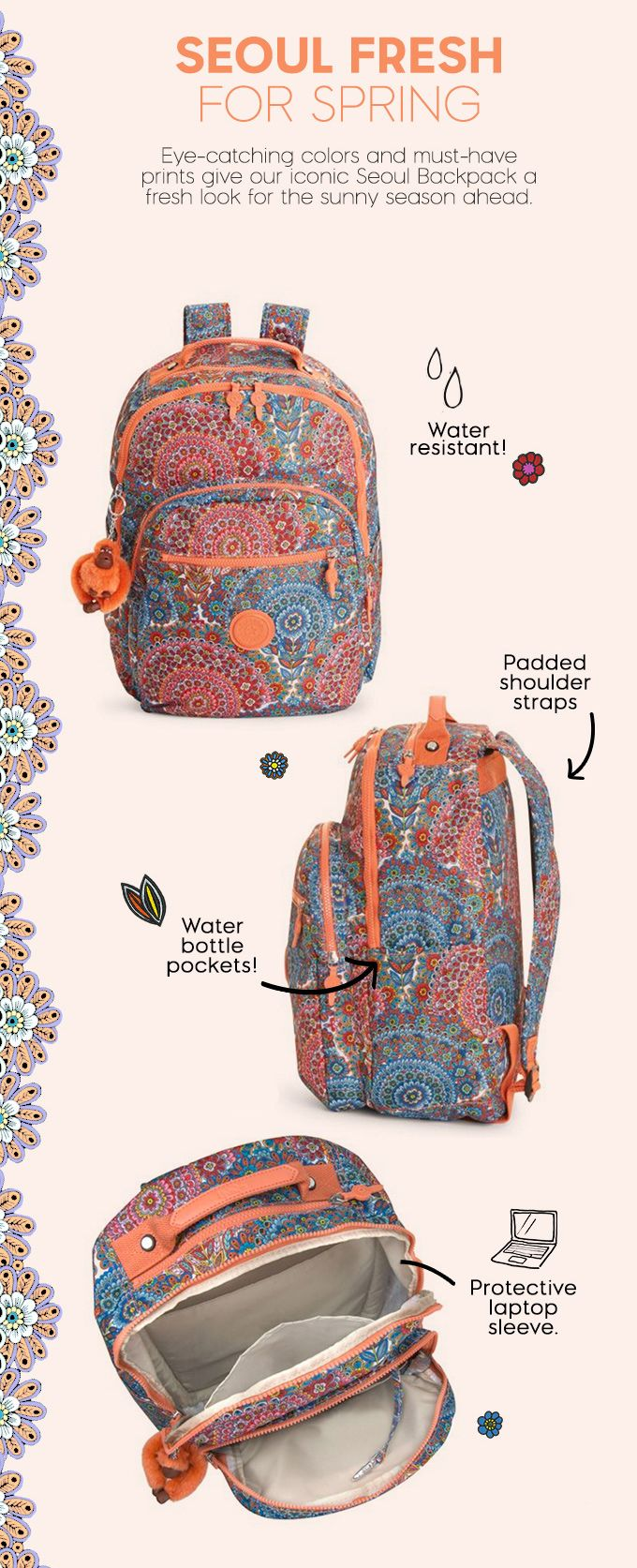 $124 Seoul Large Printed Laptop Backpack - Sunshine Happy