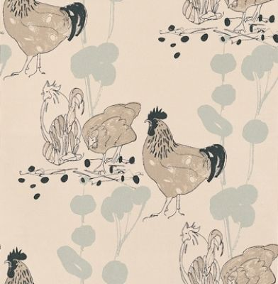 Chickens (AOW-CHI-02) - The Art of Wallpaper Wallpapers - A fun and quirky chicken design in a hand skectched effect. Showing in blue, black and beige on an off white background - other colour ways available. Please request a sample for true colour match.