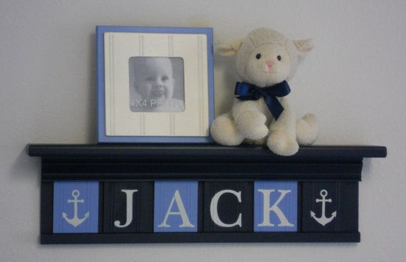 Anchor Nursery Decor Baby Boy Blue / Navy Nautical by NelsonsGifts, $48.00