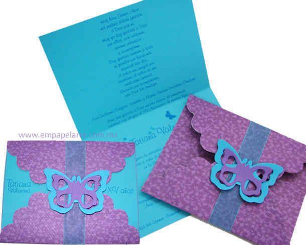 Tarjetas De Invitacion Para 15 Años Azules 5 Tarjetas De
