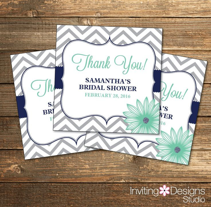 Chevron Bridal Shower Favor Tags / Wedding Shower Stickers / Navy Blue and Mint Flowers / PRINTABLE FILE by InvitingDesignStudio on Etsy