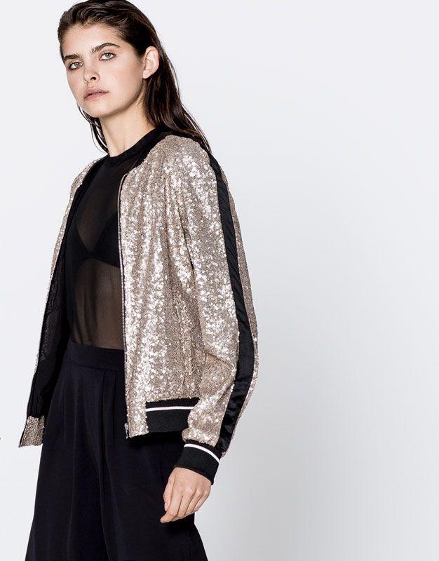 Pull & Bear - mulher - roupas - casacos e jaquetas - lantejoulas jaqueta - prata - 09710359-I2016