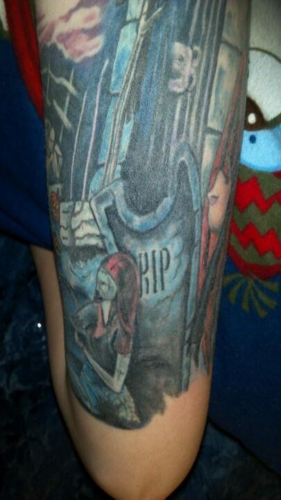 Nightmare before christmas tattoo sleeve artist credit for Tattoo madison wi