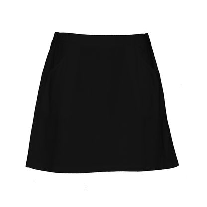 Above the knee skirt in black, two front  pockets, made from a comfortable polyester cotton microfiber mesh with hydro finish for maximum breathability and moisture wicking capability,  pull on elastic waist is a comfortable 32mm wide, Falls to above the knee (46cm/18inches long). Easy to care for - machine washable, ideal fashion wear for all women's sporting activities. Buy it online at ladygolfwear.com.au